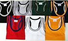 MENS COLOURED / TRIM COTTON MUSCLE TOP/ GYM STYLE VEST 6 COLOURS  M-L-XL