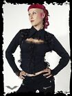 Queen Of Darkness Corset Laced Open Neck Lace Ribbon Gothic Jacket Coat