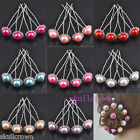 10/50pcs Bride Wedding Crystal Pearl Hairpin Fashion 8 Colors 0282BZ