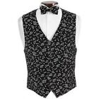 Musical Notes Black and White Tuxedo Vest and Bowtie