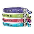 East Side Collection Sparkle Gemstone Rhinestone Faux Leather Cat Collar w/ Bell