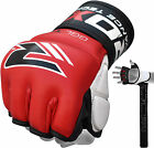 Auth RDX Leather Gel Tech MMA 7oz Grappling Gloves Fight Boxing UFC Punch Bag GX