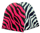 STYLISH ZEBRA PRINT WINTER KNIT SNOWBOARDING BEANIE CAP - CHOICE PINK OR WHITE