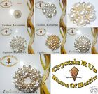PEARL FASHION BROOCH PIN BADGE CRYSTAL DIAMANTE BLING WEDDING BRIDAL OCCASION