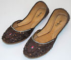 Womens Brown Evening Dress Beaded Indian Leather Khussa Shoes Pumps