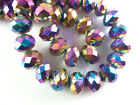 4~12MM Faceted Rondelle Loose Finding Glass Crystal Spacer Bead Colorized Plated