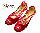 Womens Red Beaded Velvet Ankle Wrap Indian Leather Khussa Shoes -KHU11701