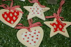 Gisela Graham Christmas Wooden Star Tree & Heart Decorations With Gingham Ribbon