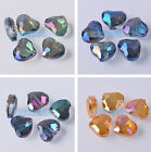 5~20pcs Faceted Crystal Glass Charms Heart Findings Loose Spacer Beads 19x16mm