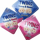 NEW For all sets of BABY FACE TWINS  Personalised Baby on Board Car Window Sign