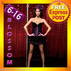 CC36 Purple Vegas Burlesque Moulin Rouge Hens Night Party Costume Corset + Skirt