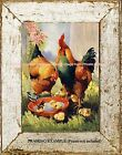 Country Vintage Farm Animals ROOSTER HEN BABY CHICKS Ranch Charming ART PRINT