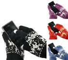 "1Pair Touch Screen Gloves Snow Flower Deer Smartphone Tablet 8 2/8""x4 3/8"" M0424"