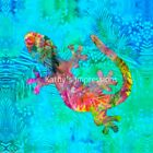 Tropical BRIGHT GECKO Lizard~ Batik Fabric Quilt Panel Block~ Hawaiian Hawaii