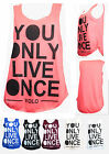 F36 LADIES RETRO FUNKY YOU ONLY LIVE ONCE YOLO PRINT VEST TOP WOMENS TOP 8-14