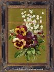 PANSIES &  LILY OF THE VALLEY BOUQUET Romantic Cottage Vintage Antique ART PRINT