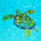 Green Blue SEA TURTLE Fabric Quilt Square Tropical Ocean Coastal Hawaiian Batiks