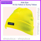 Yellow Hi Viz Kids Warm Beanie Hat Smart Warm Winter Childrens School Uniform
