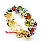 Two Way Wear 18k Gold Filled Multicolor Swarovski Crystal Party Circle Ring R190