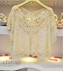 New Women Fashion Sweet Cute Lace Flower Batwing Loose Blouse Shirt   Top 1277d