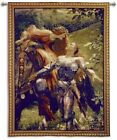 Medieval Knight & Lady on Horse Art Tapestry Wall Hanging Jacquard Woven Cotton