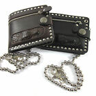 Men Crocodile Head Stud Leather Chain Wallet PUNK Rocker Biker EMO Bifold Purse