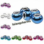 Blended Color Resin Smooth Round European Spacer Beads Charms Fit Bracelets DIY