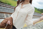 Women's Spring Summer Slim Casual Stand-up Collar Long Sleeve   T-Shirts Tops