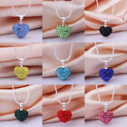 New Silver Plated Austria Crystal Love Heart Chain Solid Pendant Necklace+Box925
