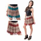 LADIES SEMI SHEER FITTED BOX PLEAT WAIST FLORAL LACE PRINT SHORT SKATER SKIRTS