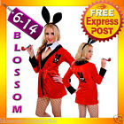 J37 Ladies Playboy Rabbit Red Robe Jacket Fancy Dress Hens Night Party Costume