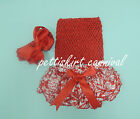 Newborn Baby Demask Ruffles Bloomers Red Tube Top Bow Headband 3pc NB-24M