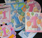 Babies First birthday Baby 1st Napkins, invites, balloons, banners FREE POSTAGE