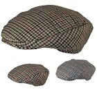 Mens / Ladies Tweed Wool Herringbone Flat Cap Peak Hat with Quilted Lining