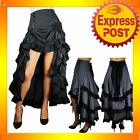 RK53 Three Tier Tail Pinstripe Black Or Grey Skirt Punk Gothic Retro Rockabilly