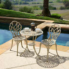 Outdoor Patio Furniture 3pcs Tulip Design Cast Aluminum Bistro Set
