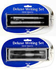 Deluxe Writing Set Rollerball & Ballpoint Pen Black Ink Black or Silver Design