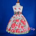 Cotton Floral Pattern Flower Girl Empire Dress Summer Party Size 3-7 Years SD003