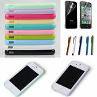 For Apple iPhone 5/4 4S TPU Case Screen Guard+Stylus Transparent Rubber Cover