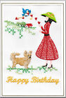 Chihuahua Longcoat Birthday Card Embroidered by Dogmania  - FREE PERSONALISATION