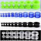 2-16mm Acrylic Illusion Ear Plugs Tunnels Stud Round Barbell Expander Gauge PUNk