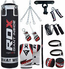 RDX 11 Piece Boxing Set 5FT, 4FT Filled Heavy Punch Bag Gloves Bracket MMA Stand