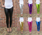 Ankle Length Womens Leggings Ultra shiny Metallic Stretch SIZE 8 10 12 14 16 18