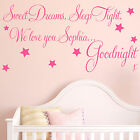 Baby Wall Sticker Quote - Personalised Sweet Dreams Girl Child Nursery Decal Art
