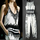 Stylish Women Floral Black White Jumpsuit Sleeveless Belted Long Pants Rompers