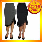 RK63 Fitted Flared Work Pencil Skirt Rockabilly Pin Up 50s 60s Retro Mod Tattoo