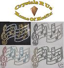 MUSIC NOTE STAVE SONG IRON-ON RHINESTONE BLING CUSTOMIZE  party TSHIRT TRANSFER