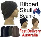 Men Striped Beret Head Ear Warmer Plain Jersey Hat Rasta Ribbed Skull Beanie
