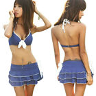 Hot Sales Women Swimwear Padded 3 Pieces Bikini Sets Swimsuit Mini Skirts Blue