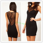 Women Sleeveless Lace Evening Party Clubbing Mini Dress Cocktail See-through Hot